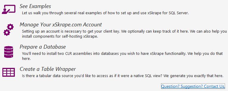 Main menu options